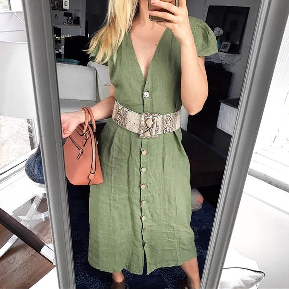 8a2ab48ea3b Safari Green Linen Maxi V-Neck Button Up Dress! 🌿
